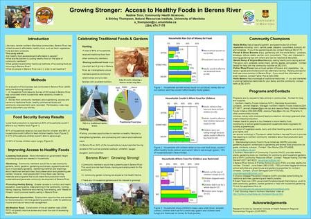 Growing Stronger: Access to Healthy Foods in Berens River Nadine Tonn, Community Health Sciences, & Shirley Thompson, Natural Resources Institute, University.