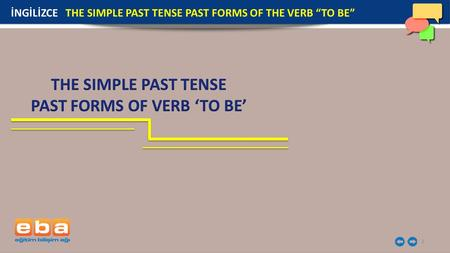 "1 İNGİLİZCE THE SIMPLE PAST TENSE PAST FORMS OF THE VERB ""TO BE"""
