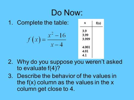 Do Now: 1.Complete the table: 2.Why do you suppose you weren't asked to evaluate f(4)? 3.Describe the behavior of the values in the f(x) column as the.