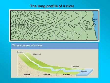 The long profile of a river. Upper course The characteristics of a river and its valley found in this course include vertical erosion, lakes, waterfalls,