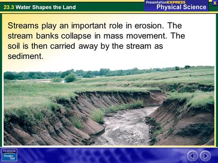 Streams play an important role in erosion