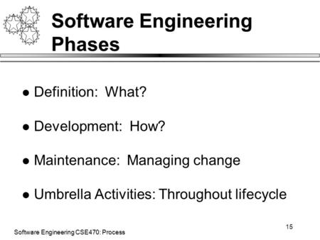Software Engineering CSE470: Process 15 Software Engineering Phases Definition: What? Development: How? Maintenance: Managing change Umbrella Activities: