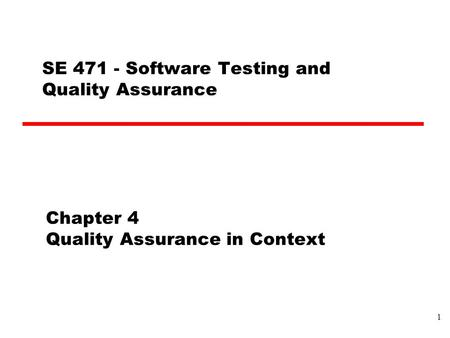 Chapter 4 Quality Assurance in Context