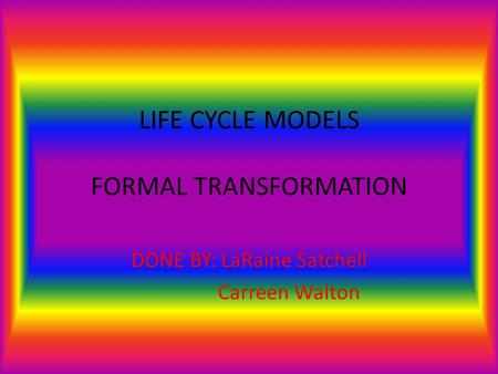 LIFE CYCLE MODELS FORMAL TRANSFORMATION DONE BY: LaRaine Satchell Carreen Walton.
