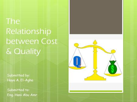 The Relationship between Cost & Quality Submitted by: Haya A. El-Agha Submitted to: Eng. Hani Abu Amr.