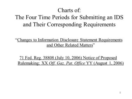 "1 Charts of: The Four Time Periods for Submitting an IDS and Their Corresponding Requirements ""Changes to Information Disclosure Statement Requirements."