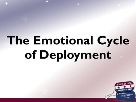 The Emotional Cycle of Deployment. Deployment and the Community Blanket Activity.