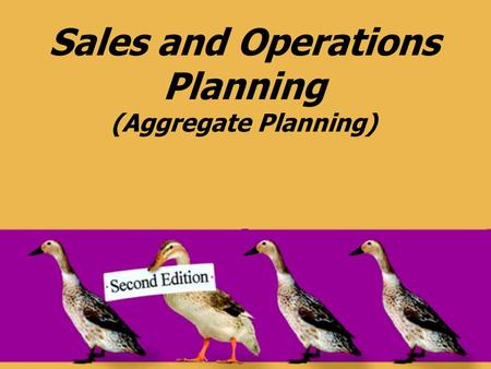Sales and Operations Planning (Aggregate Planning)