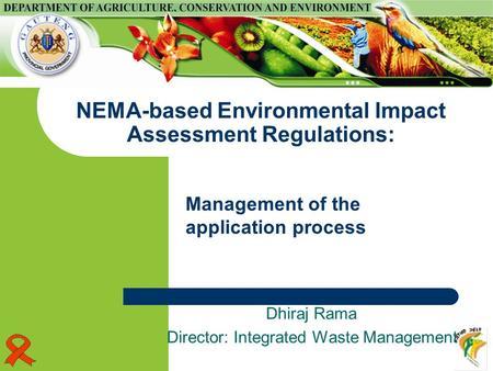 Presentation on revised national environmental management for Environmental management bureau region 13