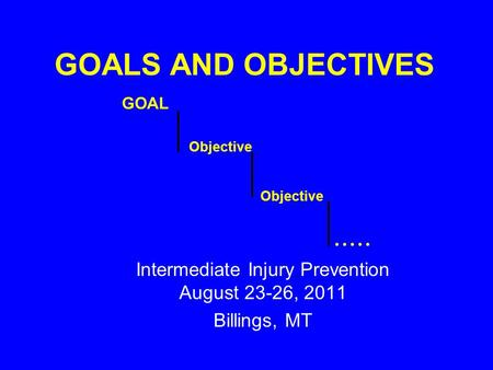 GOALS AND OBJECTIVES Intermediate Injury Prevention August 23-26, 2011 Billings, MT GOAL Objective.....