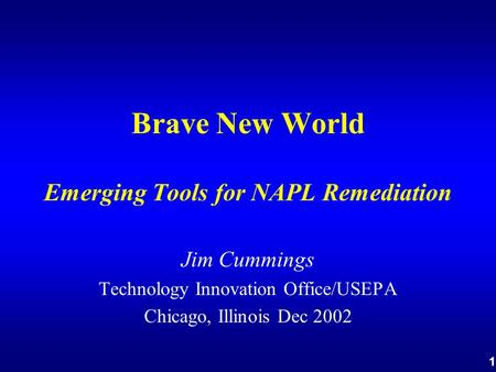 1 Brave New World Emerging Tools for NAPL Remediation Jim Cummings Technology Innovation Office/USEPA Chicago, Illinois Dec 2002.
