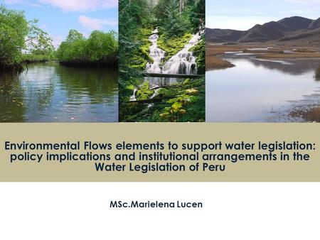 Environmental Flows elements to support water legislation: policy implications and institutional arrangements in the Water Legislation of Peru MSc.Marielena.