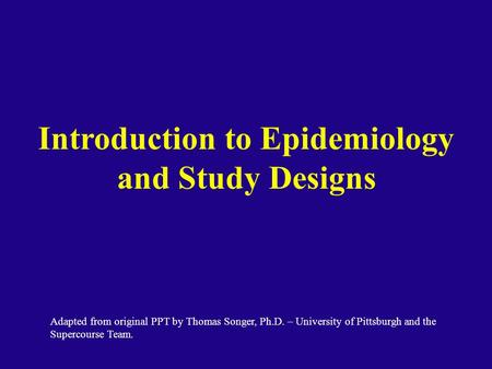 Introduction to Epidemiology