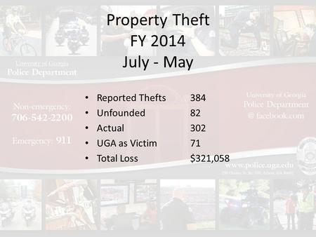 Property Theft FY 2014 July - May Reported Thefts Unfounded Actual UGA as Victim Total Loss 384 82 302 71 $321,058.