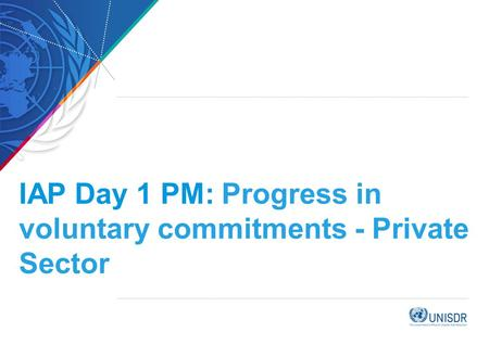 IAP Day 1 PM: Progress in voluntary commitments - Private Sector.