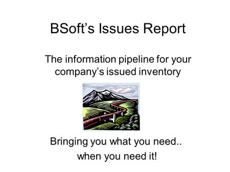 BSoft's Issues Report The information pipeline for your company's issued inventory Bringing you what you need.. when you need it!