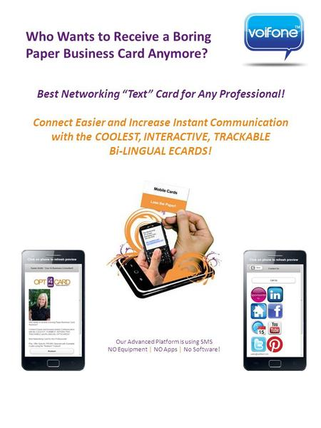 "Best Networking ""Text"" Card for Any Professional! Connect Easier and Increase Instant Communication with the COOLEST, INTERACTIVE, TRACKABLE Bi-LINGUAL."