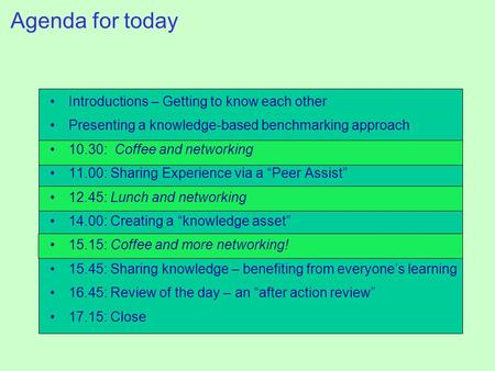 Agenda for today Introductions – Getting to know each other Presenting a knowledge-based benchmarking approach 10.30: Coffee and networking 11.00: Sharing.