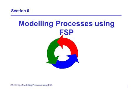 CSC321 §6 Modelling Processes using FSP 1 Section 6 Modelling Processes using FSP.
