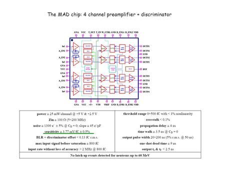 The MAD chip: 4 channel preamplifier + discriminator.