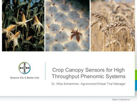 Crop Canopy Sensors for High Throughput Phenomic Systems Dr. Mike Schlemmer, Agronomist/Wheat Trial Manager.