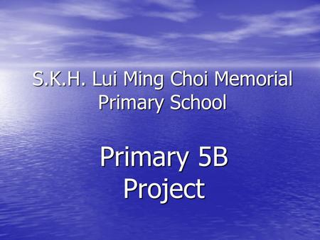 S.K.H. Lui Ming Choi Memorial Primary School Primary 5B Project.