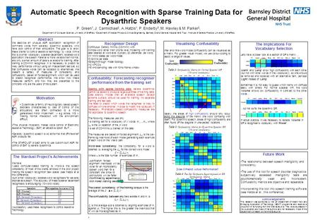 Automatic Speech Recognition with Sparse Training Data for Dysarthric Speakers P. Green 1, J. Carmichael 1, A. Hatzis 1, P. Enderby 3, M. Hawley & M. Parker.