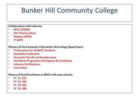 Bunker Hill Community College Collaboration with industry: EPUT (NSTAR) GUT (Feeney Bros) Taxation (DOR) IT (SAP) Mission of the Computer Information Technology.