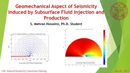 Geomechanical Aspect of Seismicity Induced by Subsurface Fluid Injection and Production S. Mehran Hosseini, Ph.D. Student Fracture Tip Stress Field Fracture.
