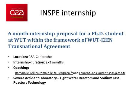 INSPE internship 6 month internship proposal for a Ph.D. student at WUT within the framework of WUT-I2EN Transnational Agreement Location: CEA-Cadarache.
