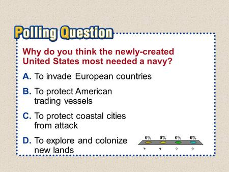 A.A B.B C.C D.D Section 3-Polling QuestionSection 3-Polling Question Why do you think the newly-created United States most needed a navy? A.To invade European.