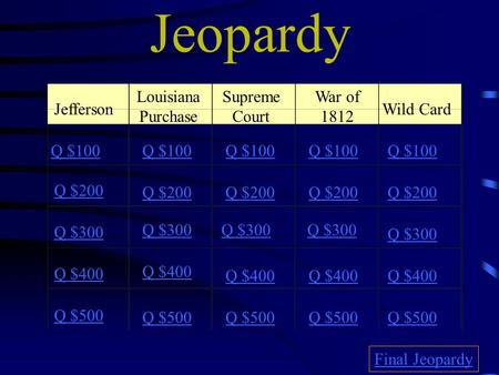 Jeopardy Jefferson Louisiana Purchase Supreme Court War of 1812 Wild Card Q $100 Q $200 Q $300 Q $400 Q $500 Q $100 Q $200 Q $300 Q $400 Q $500 Final Jeopardy.
