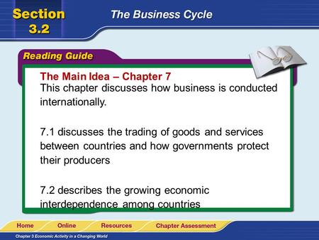 The Main Idea – Chapter 7 This chapter discusses how business is conducted internationally. 7.1 discusses the trading of goods and services between countries.