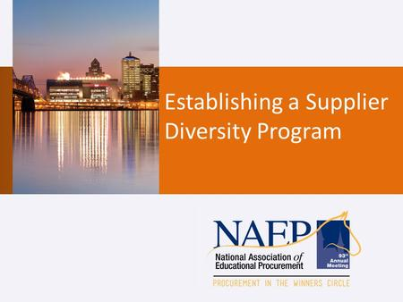 Establishing a Supplier Diversity Program. Jamie Green, MBA, CMRP Strategic Sourcing Manager Supply Chain Management NYU Langone Medical Center New York,