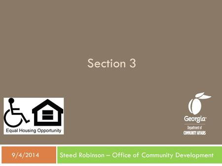 Section 3 Steed Robinson – Office of Community Development  9/4/2014.