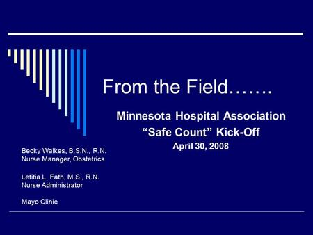 "From the Field……. Minnesota Hospital Association ""Safe Count"" Kick-Off April 30, 2008 Becky Walkes, B.S.N., R.N. Nurse Manager, Obstetrics Letitia L. Fath,"