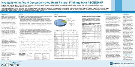 Hypotension in Acute Decompensated Heart Failure: Findings from ASCEND-HF Background Context: Transient, in-hospital hypotension while hospitalized for.