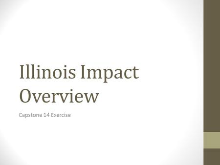 Illinois Impact Overview Capstone 14 Exercise. General Impact Overview Total Structures Damaged 18, 347 Total Injured12,900 Total Fatalities382 Total.