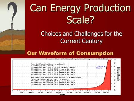 Can Energy Production Scale? Choices and Challenges for the Current Century Our Waveform of Consumption.