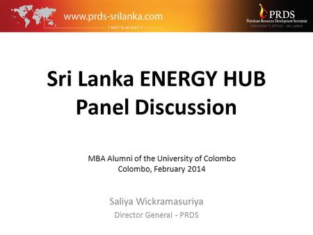 Sri Lanka ENERGY HUB Panel Discussion