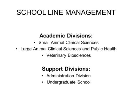 SCHOOL LINE MANAGEMENT Academic Divisions: Small Animal Clinical Sciences Large Animal Clinical Sciences and Public Health Veterinary Biosciences Support.