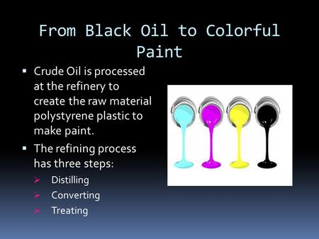 From Black Oil to Colorful Paint  Crude Oil is processed at the refinery to create the raw material polystyrene plastic to make paint.  The refining.