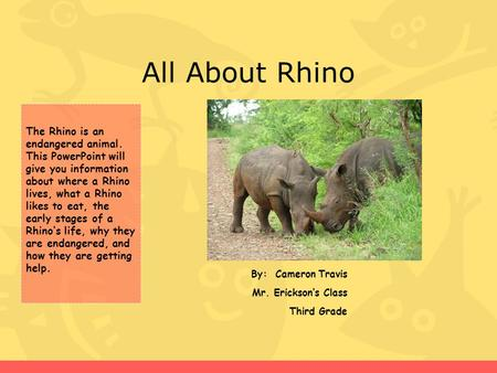 All About Rhino By: Cameron Travis Mr. Erickson's Class Third Grade The Rhino is an endangered animal. This PowerPoint will give you information about.