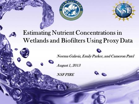 Powerpoint Templates Estimating Nutrient Concentrations in Wetlands and Biofilters Using Proxy Data Norma Galaviz, Emily Parker, and Cameron Patel August.