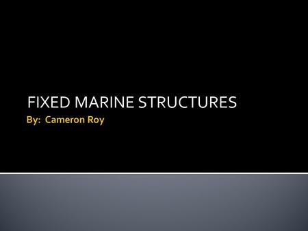 FIXED MARINE STRUCTURES