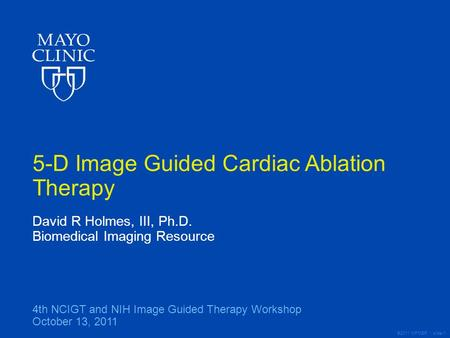 ©2011 MFMER | slide-1 5-D Image Guided Cardiac Ablation Therapy David R Holmes, III, Ph.D. Biomedical Imaging Resource 4th NCIGT and NIH Image Guided Therapy.