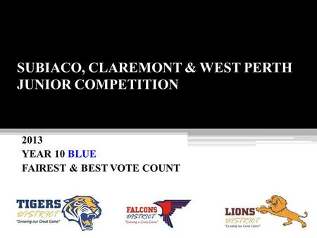 SUBIACO, CLAREMONT & WEST PERTH JUNIOR COMPETITION 2013 YEAR 10 BLUE FAIREST & BEST VOTE COUNT.