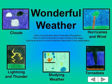 Wonderful Weather Click on a picture to learn more about the person. Click on the home button to return back to this page. Use the arrows to move forward.
