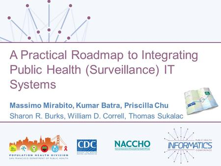 A Practical Roadmap to Integrating Public Health (Surveillance) IT Systems Massimo Mirabito, Kumar Batra, Priscilla Chu Sharon R. Burks, William D. Correll,