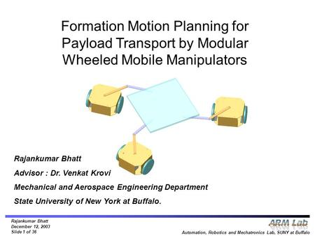 Rajankumar Bhatt December 12, 2003 Slide 1 of 36 Automation, Robotics and Mechatronics Lab, SUNY at Buffalo Formation Motion Planning for Payload Transport.